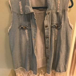 Other - Distressed Jean Vest with Lace at bottom